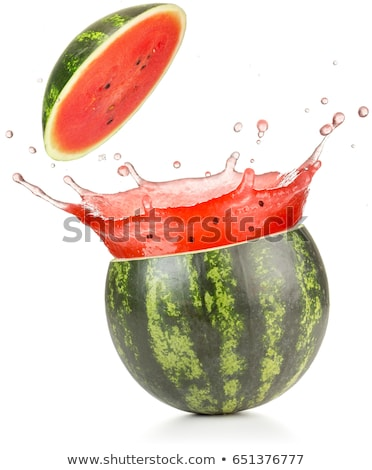 Juicy ripe watermelon cuts with splashes of juice drops Stock photo © LoopAll