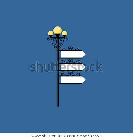 Old style iron street lamps with a sign for advertising. Vector  Stock photo © leonido