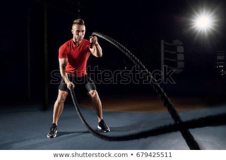 férfi · csata · kötelek · testmozgás · izmos · póló · nélkül - stock fotó © lunamarina