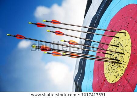 Foto stock: Aprendizagem · vermelho · alvo · três · enforcamento