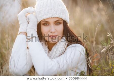 женщину свитер трикотажный Hat Сток-фото © HASLOO