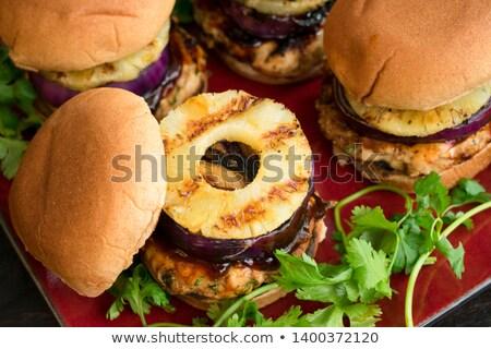vejetaryen · Burger · öğle · yemeği · sebze · yemek - stok fotoğraf © tilo