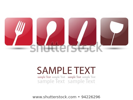 spoon red vector icon button stock photo © rizwanali3d
