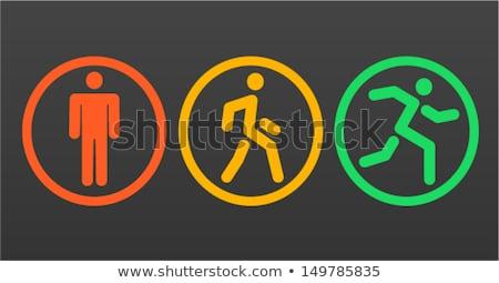 Sétál férfi közlekedési lámpa forgalom nem rajz Stock fotó © Bigalbaloo