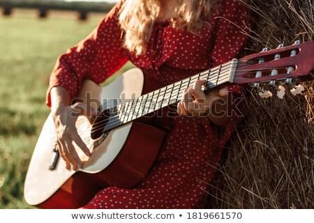 счастливая · девушка · элегантный · гитаре · Постоянный · изолированный · ребенка - Сток-фото © ilona75