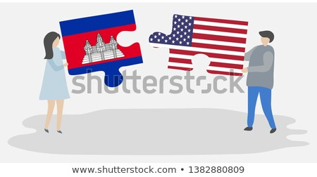 USA Cambodja vlaggen puzzel vector afbeelding Stockfoto © Istanbul2009