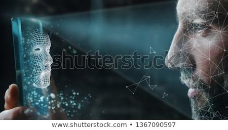 ロボット 識別 壁 抽象的な 楽しい シルエット ストックフォト © jossdiim