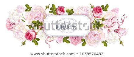 Hydrangeas flower border with ribbons Stock photo © Irisangel