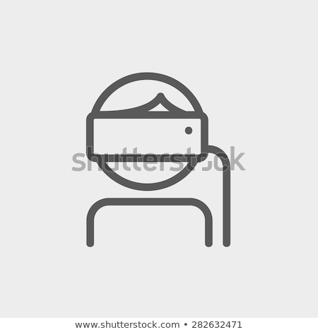 young lady is using virtual reality headset thin line icon stock photo © rastudio