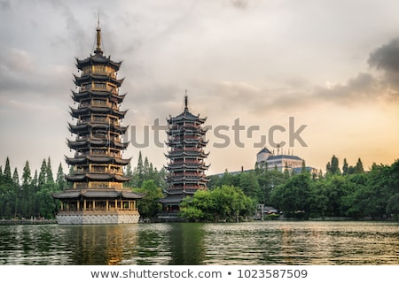 China farbenreich Sonne Mond Tanne See Stock foto © EcoPic