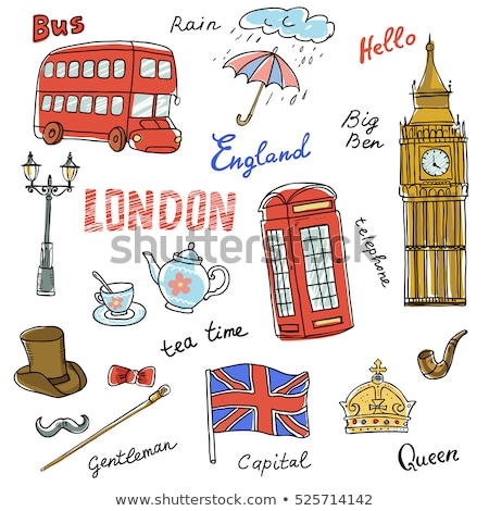 retro vector hand drawn london pattern stock photo © netkov1