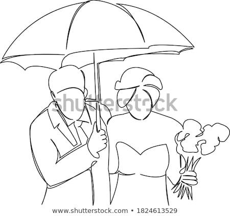 Rabisco recém-casados esboço casamento excelente eps Foto stock © netkov1