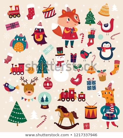 フクロウ · 家族 · クリスマス · 靴下 · 実例 · 雪 - ストックフォト © adrenalina