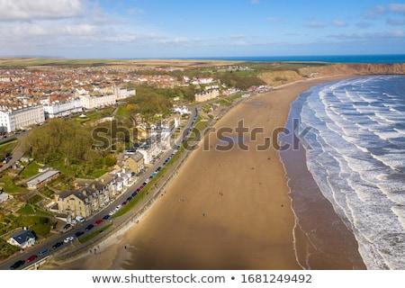 Foto stock: Beira-mar · recorrer · norte · yorkshire · praia · céu