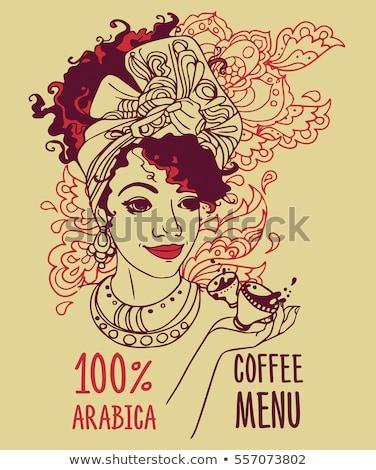 coffee advertising banner with a beautiful lady stock photo © balasoiu