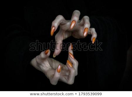 Stock fotó: Ijesztő · sápadt · halloween · kezek · fekete · körmök