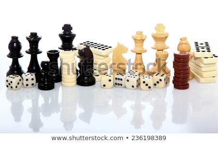 Stockfoto: Backgammon Dice And Pieces Isolated On White