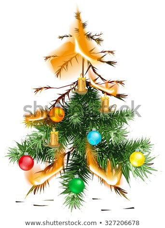 Christmas tree lit accident. The fire disaster Stock photo © orensila