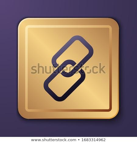 ストックフォト: 保護された · リンク · 紫色 · ベクトル · アイコン · ボタン