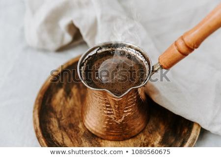 トルコ語 コーヒー 鋳鉄 コースター ガラス ドリンク ストックフォト © Digifoodstock