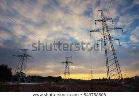 высокий · закат · зима · силуэта · электрических · высокое · напряжение - Сток-фото © flariv