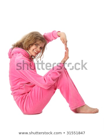 Girl in pink clothes represents  letter r Stock photo © Paha_L