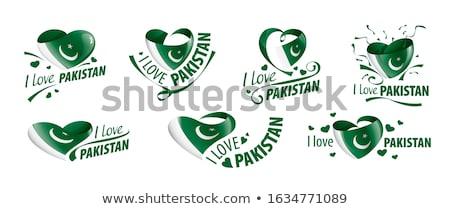 Szeretet Pakisztán felirat izolált fehér zászló Stock fotó © MikhailMishchenko