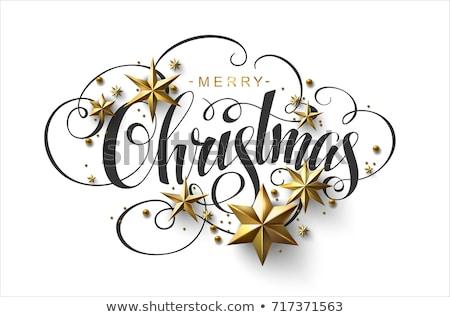 Noel · dekorasyon · kırmızı · Yıldız · kar · taneleri · beyaz - stok fotoğraf © -baks-