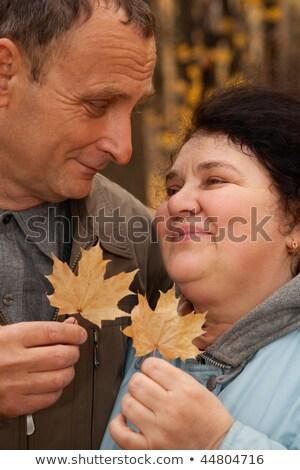 歳の男性 · 歳の女性 · ホールド · メイプル · 葉 · 見 - ストックフォト © Paha_L
