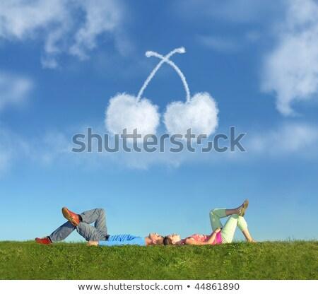 para · trawy · sen · wiśniowe · kolaż · niebo - zdjęcia stock © Paha_L
