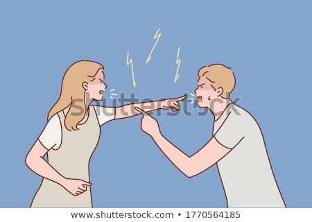 Brigar mulher mãos homem mulheres cabelo Foto stock © Paha_L