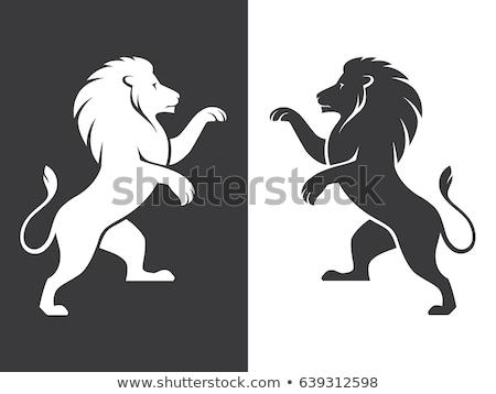 Fekete áll oroszlán heraldika tetoválás terv Stock fotó © Genestro