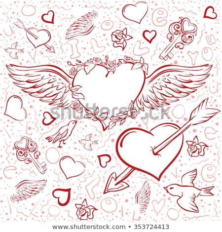 Red heart wings. Heart pierced by an arrow. Seamless background symbol Valentines Day Stock photo © orensila