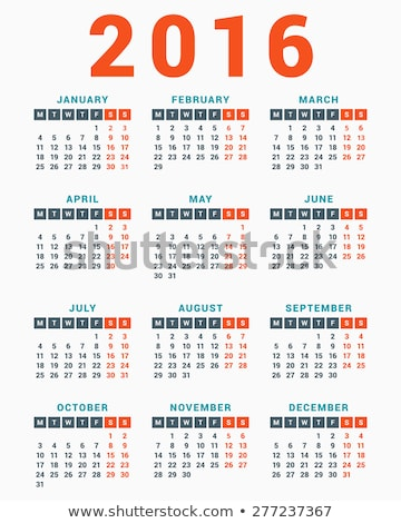 Calendar for 2016 on White Background. Week Starts Monday. Simple Vector Template Stock photo © rommeo79