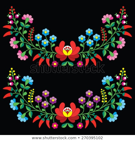 Hungarian black folk pattern - Kalocsai embroidery with flowers and paprika  Stock photo © RedKoala
