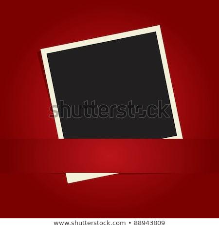 dos · blanco · vintage · marcos · rojo · pared - foto stock © ivicans