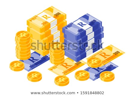 Banknote and coins of  Rand of South Africa Stock photo © CaptureLight