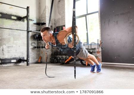 Jimnastik halkalar crossfit spor salonu uygunluk jimnastik Stok fotoğraf © wavebreak_media