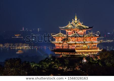 Miasta boga zachód jezioro Chiny architektury Zdjęcia stock © billperry
