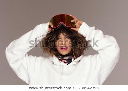 Mulher jovem snowboarding mulher vetor projeto ilustração Foto stock © RAStudio