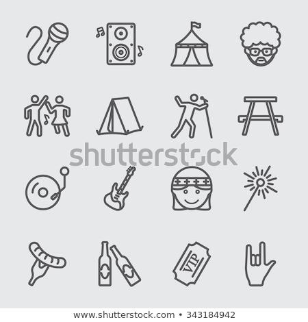 hombre · cantando · micrófono · línea · icono · web - foto stock © rastudio