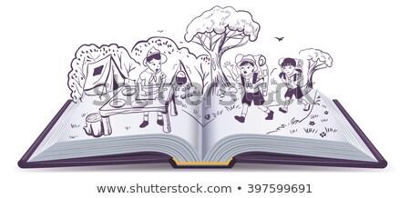 livro · aberto · floral · ornamento · borboletas · papel · primavera - foto stock © orensila