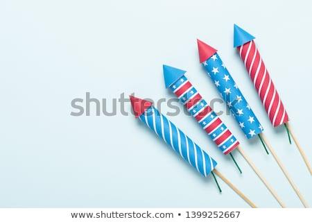 Stockfoto: Raket · vuurwerk · illustratie · witte · abstract · ontwerp