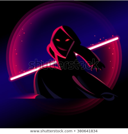 Stock photo: Cartoon fantastic hero with a red light sword