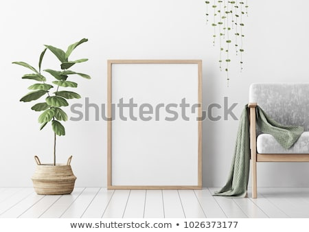 Empty wooden frame, interior poster mock-up Stock photo © manera