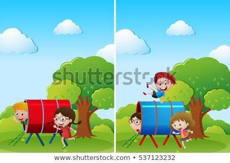 Fiúk lányok kert nappal illusztráció lány Stock fotó © bluering