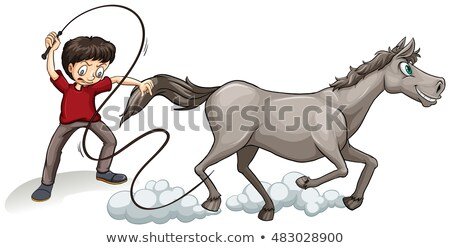 Man training horse with whip Stock photo © bluering