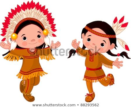 Kettő őslakos amerikai jelmez illusztráció mosoly Stock fotó © bluering