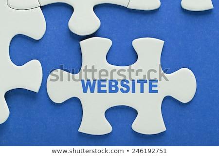 Stok fotoğraf: Bilmece · kelime · web · tasarım · puzzle · parçaları · el · inşaat