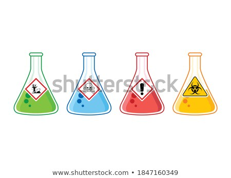 beaker with biohazard sign vector illustration stock photo © rastudio